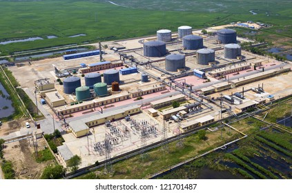 aerial view of petrol industrial zone