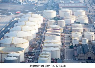 aerial view of petrol industrial zone