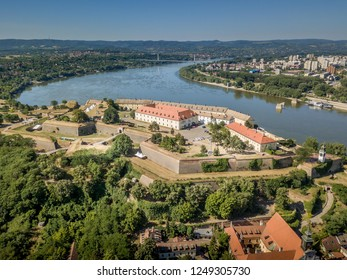 Aerial view of Petrovaradin Novi Sad fortress from the Austria Turkish times in Serbia former Yugoslavia along the Danube river