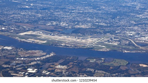 Aerial view of the Philadelphia International Airport, with runways and the terminals.
