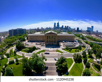 Aerial View of Philadelphia Skyline From Perspective of Schuylkill River in Fairmount Park On a Hot Summer's Day With Blue Skies and Minimal Clouds