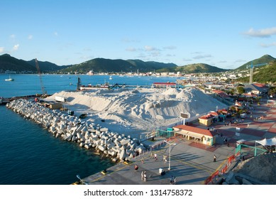 The aerial view of Philipsburg town on Sint Maarten, Dutch side of the island at dusk (Netherlands Antilles).