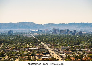 Aerial view of Phoenix downtown photographed from North Mountain.
