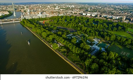 Aerial View Photo of Battersea Park feat. River Thames and Chelsea Bridge in London