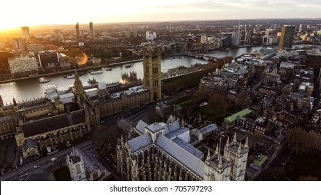 Aerial View Photo Iconic English Landmark Big Ben Clock Parliament feat British Flag in City of Westminster in London England, UK