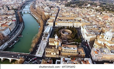 Aerial View Photo of Roman Historic Medieval Rome Cityscape around Mausoleum of Augustus and River Tiber in Italy