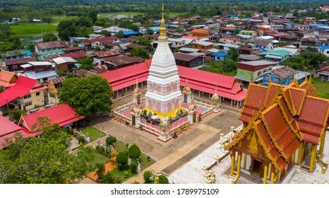 Aerial view Phra That Renu Nakhon temple, Nakhon Phanom Thailand