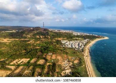 Aerial view of Phu Qui island, Binh Thuan, Vietnam.