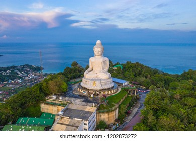 aerial view Phuket Big Buddha is one of the island most important and revered landmarks on the island.big Buddha is on the top of high mountain can see around the Phuket island when you are there