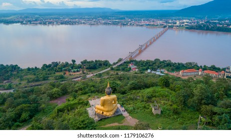a aerial view of Phusalao, bridge and Pakse city this is the best place to see a sunset and sunrise. And also public area for all people to do activities or sport.