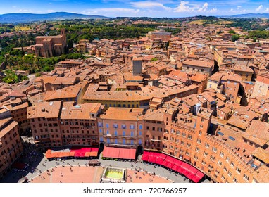 Aerial view of Piazza del Campo in Siena, Tuscany, Italy