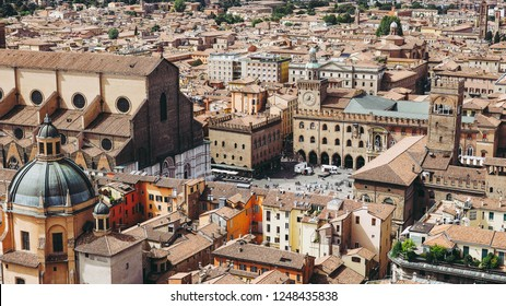 Aerial view of Piazza Maggiore square and San Petronio church in the city of Bologna, Italy