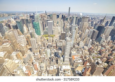 Aerial view picture of Manhattan, New York City downtown, USA.