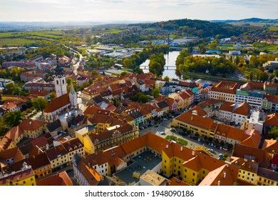 Aerial view of picturesque Czech town Pisek in South Bohemia - Shutterstock ID 1948090186