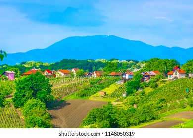 Aerial view at picturesque landscape in Zagorje countryside, famous tourist resort in Croatia, Europe. / Selective focus.