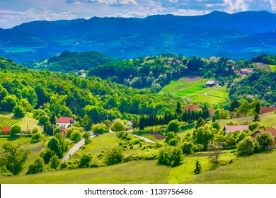 Aerial view at picturesque scenery in Northern Croatia, Zagorje countryside. / Selective focus.
