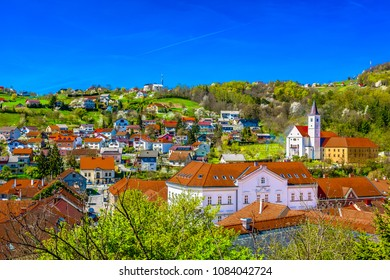 Aerial view at picturesque town Krapina cityscape in Croatia, Zagorje Region scenery. / Selective focus.