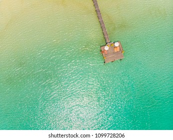 Aerial view of pier with sea and ocean for travel and vacation