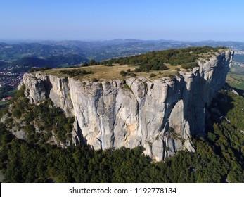 Aerial view of Pietra di Bismantova,the famous climbing gym in the mountains of Reggio Emilia