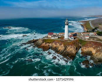 Aerial view of Pigeon Point Lighthouse in California, USA