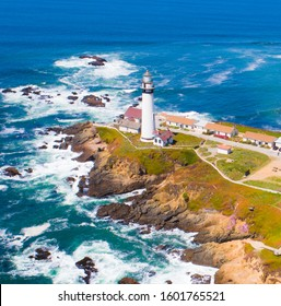 Aerial view of Pigeon point lighthouse, California