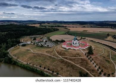 Aerial view of the pilgrimage Church of St. John of Nepomuk at Zelena hora in Žďár nad Sázavou, Czech Republic, Europe from ultralight plane