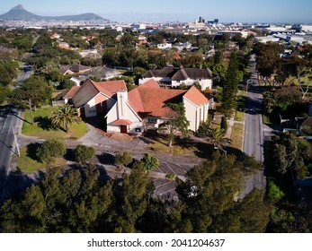 Aerial view of the Pinelands Catholic Church, also known as Christ the King church, a church in Pinelands, Cape Town, Western Province, South Africa.  13 September 2021.