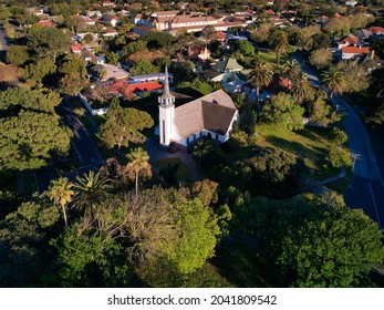 Aerial view of the Pinelands NG Gemeente Church, Central Square, Pinelands, Cape Town, Western Province, South Africa. 15 September 2021.