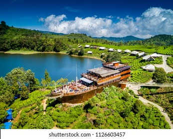 Aerial View of a Pinisi Boat Shaped Restaurant Building in the Edge of a Cape of Lake Patenggang, Ciwidey, Bandung, West Java, Indonesia, Asia