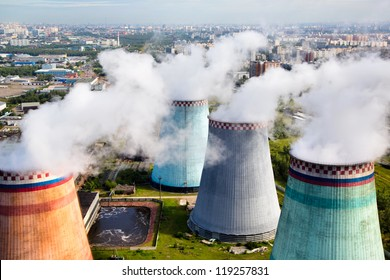 Aerial view of pipes of the thermal power plant