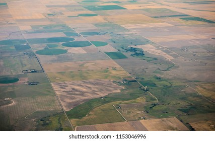 Aerial view of pivot irrigation on farms in Colorado, USA.
