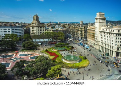 Aerial view of Placa Catalunya on August 17, 2012 in Barcelona, Spain. This square is considered to be the city center and some of the most important streets meet there