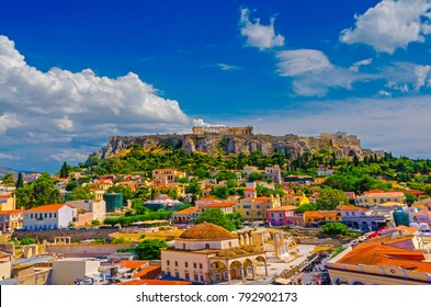 Aerial view of Plaka Athens and the rock of Acropolis.