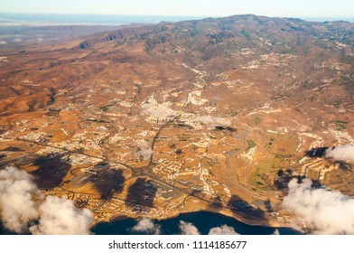 Aerial view from plane. Gran Canaria. Spain. Europe.
