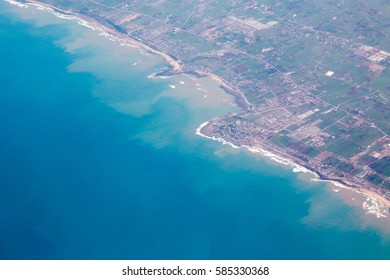 Aerial view from plane on Casablanca and ocean west Africa