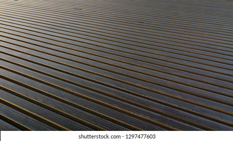Aerial view of plastic film / mulch sheet on arable land in the UK