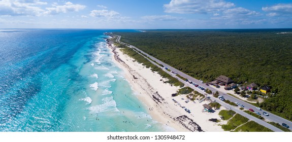 Aerial view of Playa Chen Rio beach in Cozumel, Mexico.