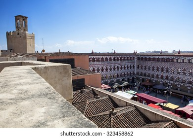 Aerial view of Plaza Alta full of tents and market stalls during Almossassa Festival, Badajoz, Spain