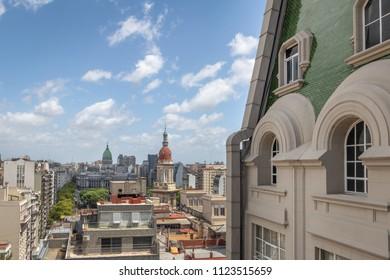 Aerial view of Plaza Congreso (Congress Plaza) and Palacio Barolo (Barolo Palace) - Buenos Aires, Argentina