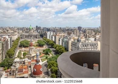 Aerial view of Plaza Congreso (Congress Plaza) from Palacio Barolo (Barolo Palace) Balcony - Buenos Aires, Argentina