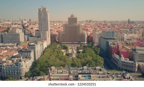 Aerial view of Plaza de Espana, famous square in Madrid, Spain
