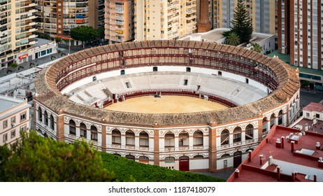 Aerial view of Plaze del Toros bull fight arena in Malaga city, Andalusia, Spain