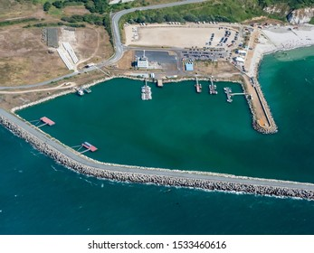 aerial view of the pleasure boat harbor of Antifer in the department of Seine Maritime in France