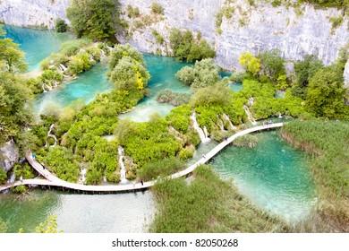 Aerial view, Plitvicka lake, National Park, Croatia.