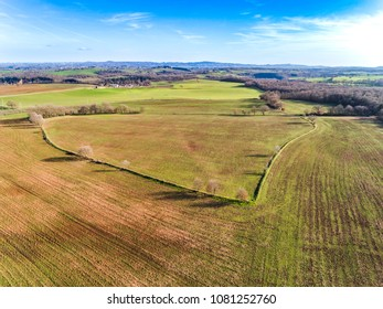 Aerial view of a plowed field in Italy