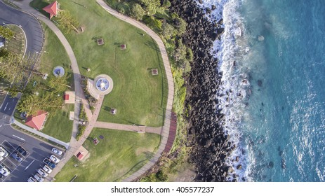 Aerial view of Point Danger lookout and Captain Cook Memorial