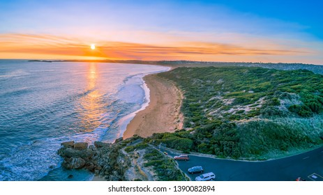 Aerial view of Point Ritchie lookout at sunset in Warrnambool, Australia