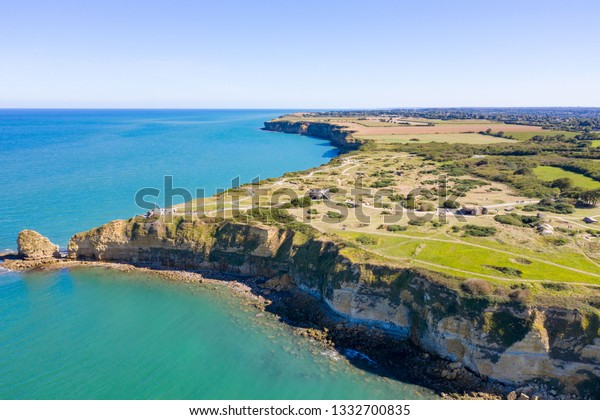 Aerial view of Pointe du Hoc on the coast of Normandy.