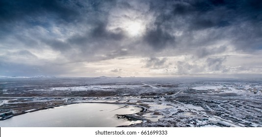 Aerial view of polar landscape and stormy sky, Iceland, Europe. Iceland nature 2017 winter cold