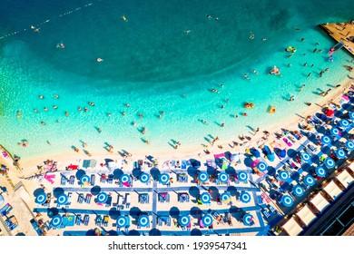 Aerial view of Poli Mora turquoise sand beach in Selce, Crikvenica riviera in Croatia - Shutterstock ID 1939547341